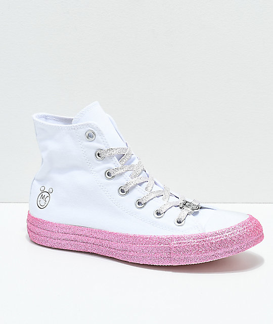 1047aeb8d056f0 Converse x Miley Cyrus White   Pink Glitter High Top Shoes