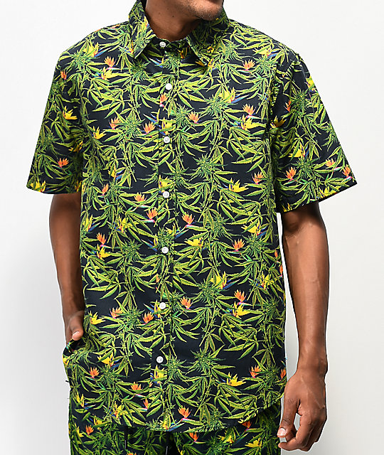 Cookies Birds Of Paradise Black Short Sleeve Button Up Shirt