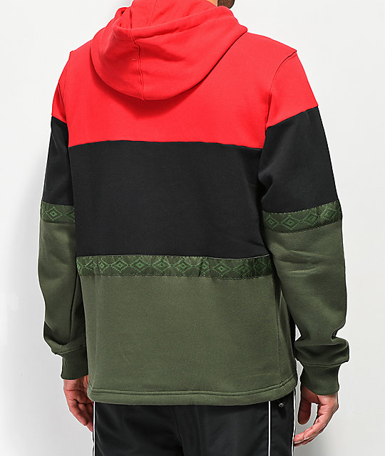 Cookies Tahoe Pieced Red, Black & Olive Hoodie