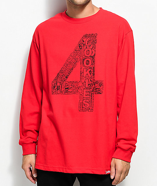 Cookies x 4 Hunnid Long Sleeve Red T-Shirt