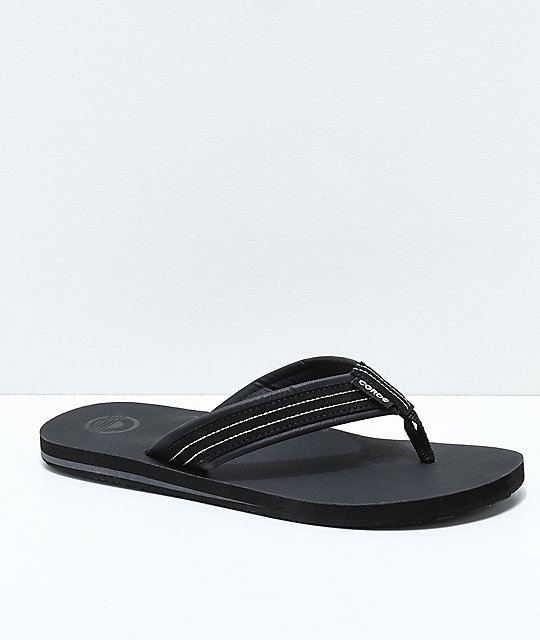 Cords Commando 2 Black Synthetic Leather Sandals
