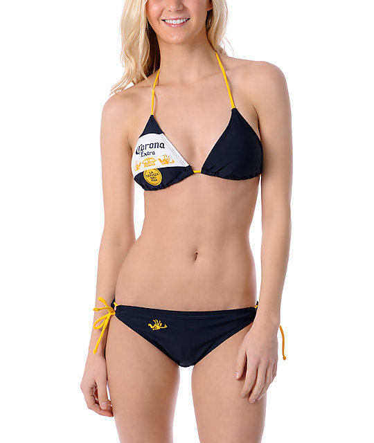 Corona Swim Navy & Gold Bottle Label 3 Triangle Bikini Top
