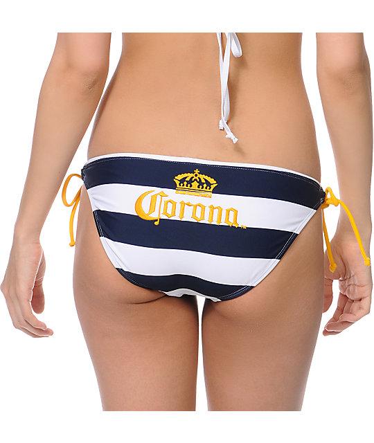 f34d48824033a Corona Swim Navy Stripe Tunnel Tie Bikini Bottom | Zumiez