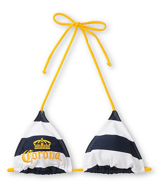 8f60428b7b29a Corona Swim Striped Navy Blue Triangle Bikini Top | Zumiez