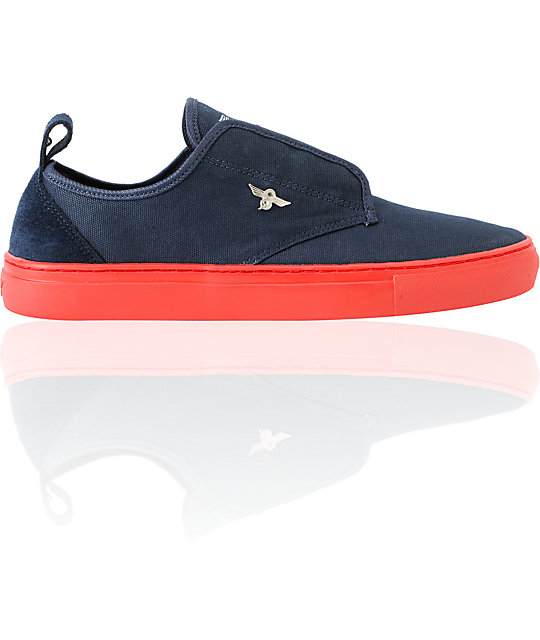 creative recreation lacava navy red canvas shoes zumiez