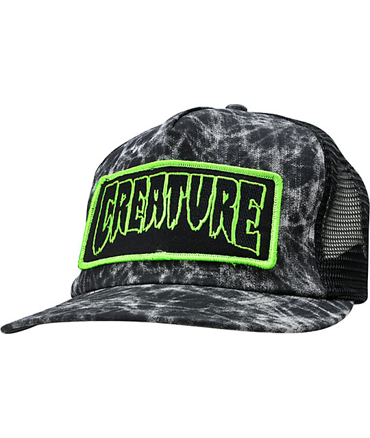 Creature Patch Black Distressed Trucker Hat