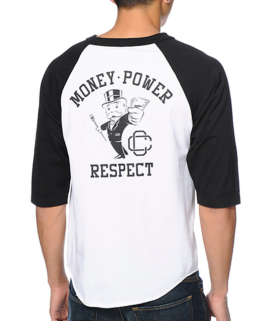 Crooks & Castles X Monopoly Money Power Black & White Baseball T-Shirt