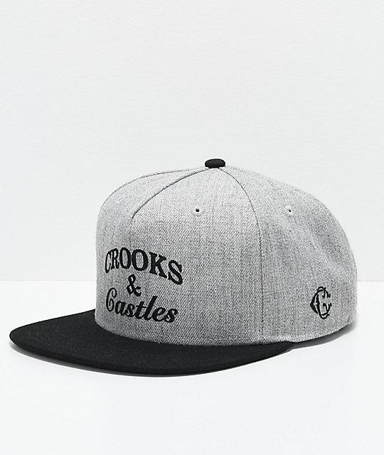 d64e0ad4066 Crooks   Castles Timeless Grey   Black Snapback Hat