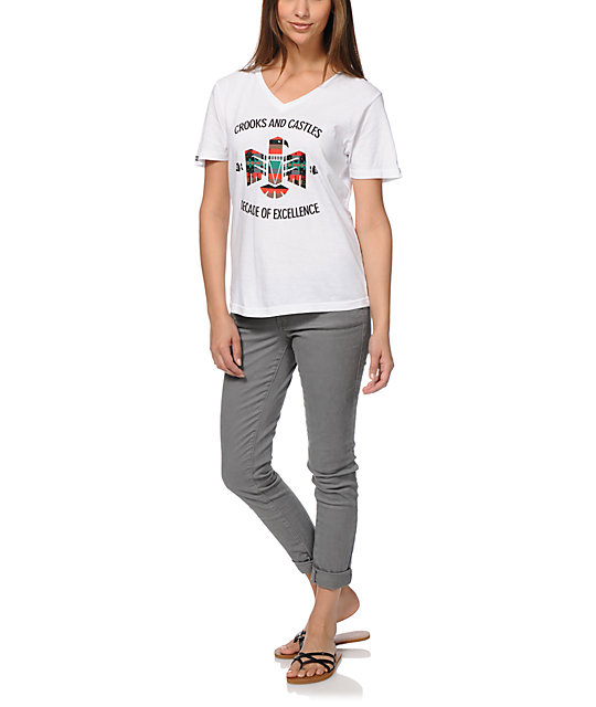 Crooks And Castles Mayan Bird White V-Neck T-Shirt