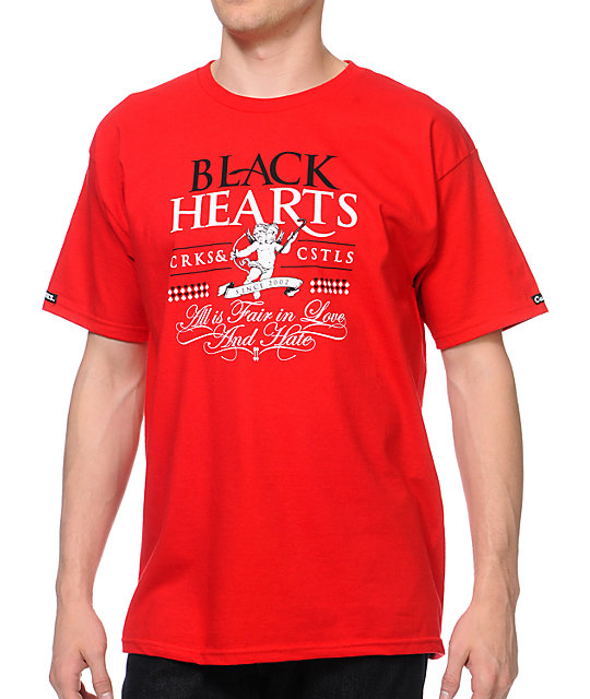 Crooks and Castles Black Hearts Red T-Shirt