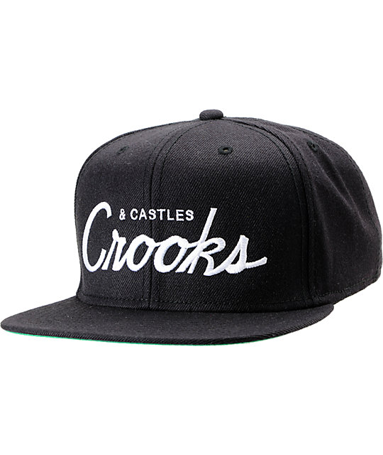 Crooks and Castles Box Script Black Snapback Hat  ec8b28f85ab
