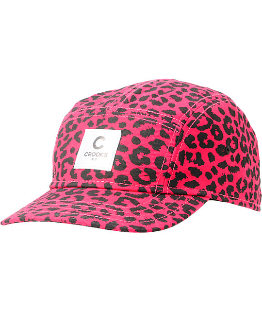 Crooks and Castles Hot Pink Cheetah 5 Panel Hat