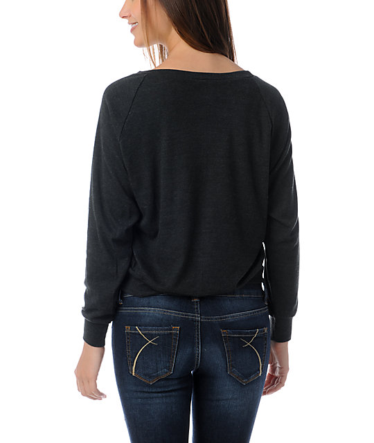 Crooks and Castles Luxe Charcoal Boyfriend Raglan Top