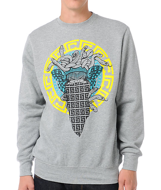 Crooks and Castles Medusa Repeat Grey Crew Neck Sweatshirt