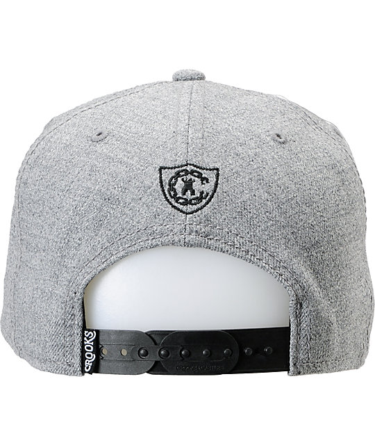 Crooks and Castles Script Grey Snapback Hat