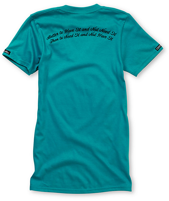 Crooks and Castles Turquoise Air Gun V-Neck T-Shirt