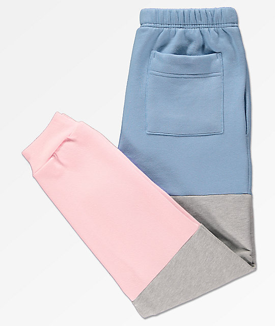Cross Colours Blue, Grey & Pink Colorblocked Jogger Pants
