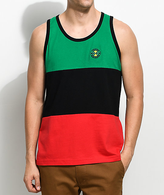 Cross Colours Color Block Black, Red & Green Tank Top