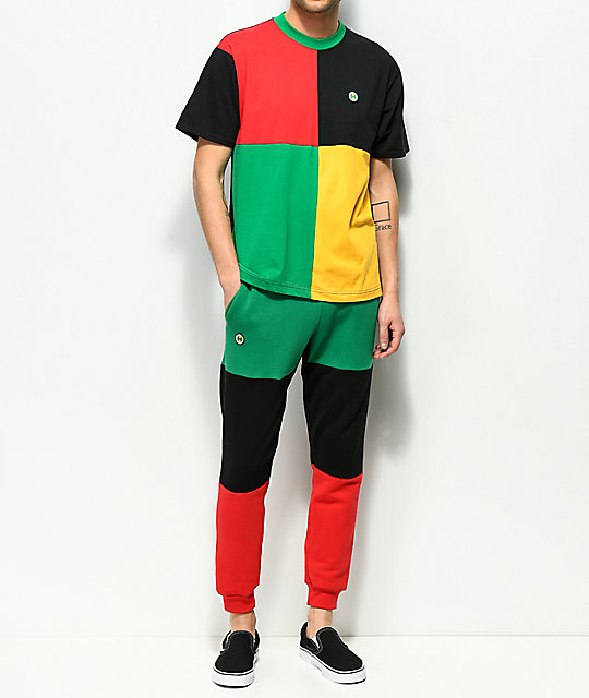 Cross Colours Green, Black & Red Colorblocked Jogger Pants