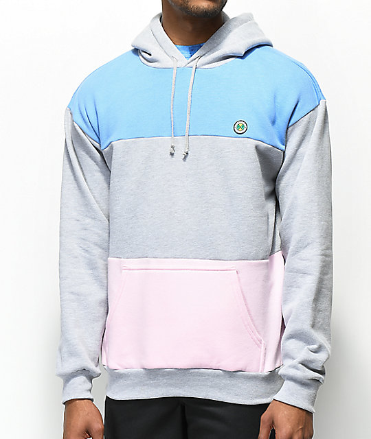Cross Colours Grey, Blue & Pink Colorblock Hoodie