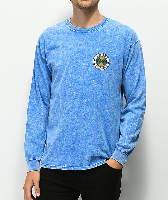 Cross Colours Logo Blue Acid Wash Long Sleeve T-Shirt