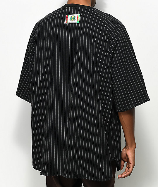 Cross Colours Pinstripe Black Zip Shirt