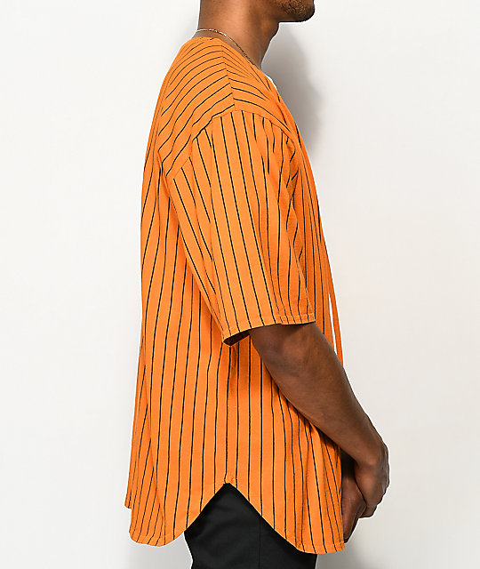Cross Colours Pinstripe Orange Zip Shirt