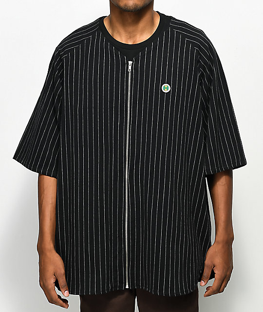 Cross Colours Pinstripe camiseta negra con cremallera