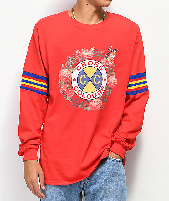 Cross Colours Rose Circle Red Long Sleeve T-Shirt