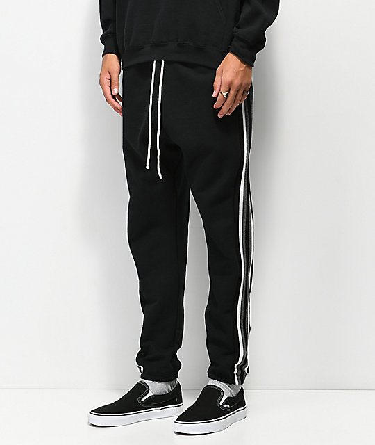 Cross Colours Stripe Black Jogger Sweatpants