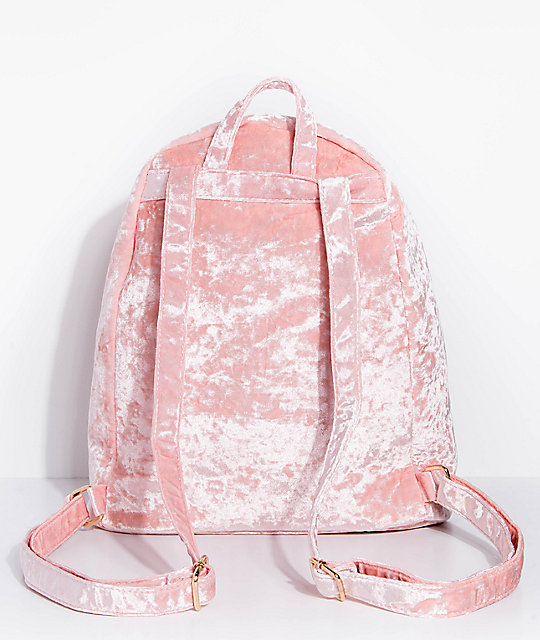 Crushed Velvet Light Pink Backpack