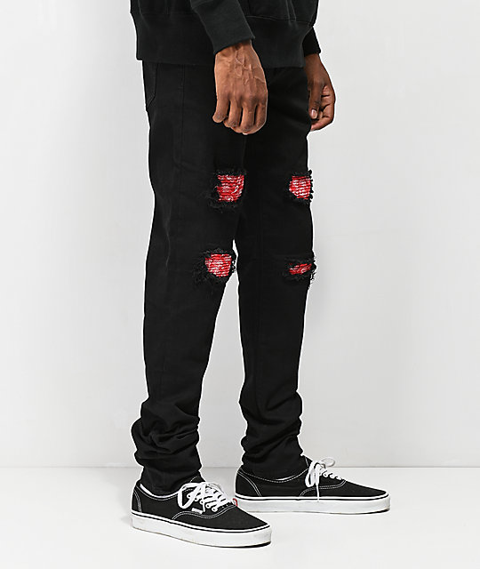 Crysp Chandler Paisley Black Skinny Jeans