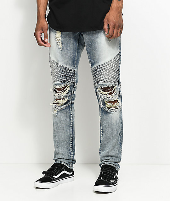 Crysp Denim Basket Woven Distressed Light Blue Jeans