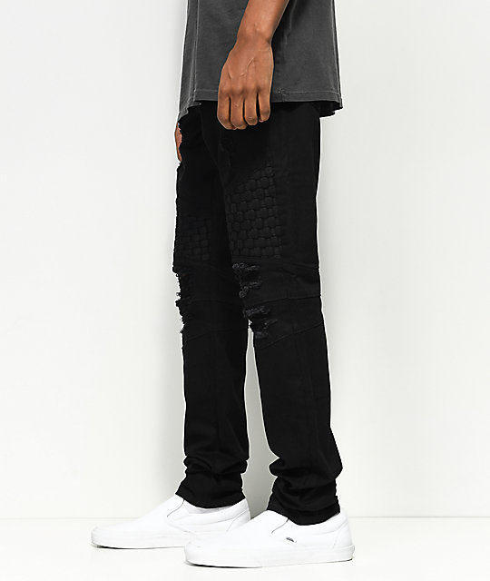 Crysp Denim Basket Woven jeans negros