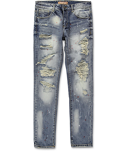 Crysp Denim Bobby Ink Splatter Ripped Jeans