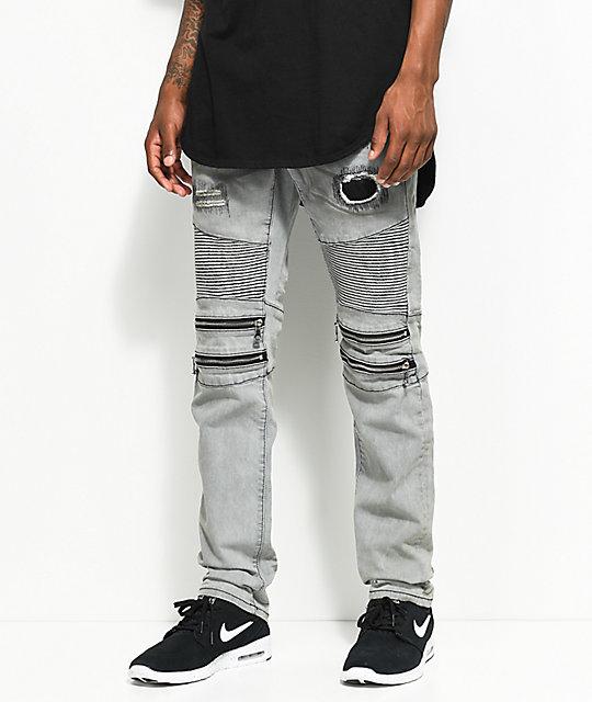 9d9852c8a1a Crysp Denim Brett Grey Moto Zipper Jeans
