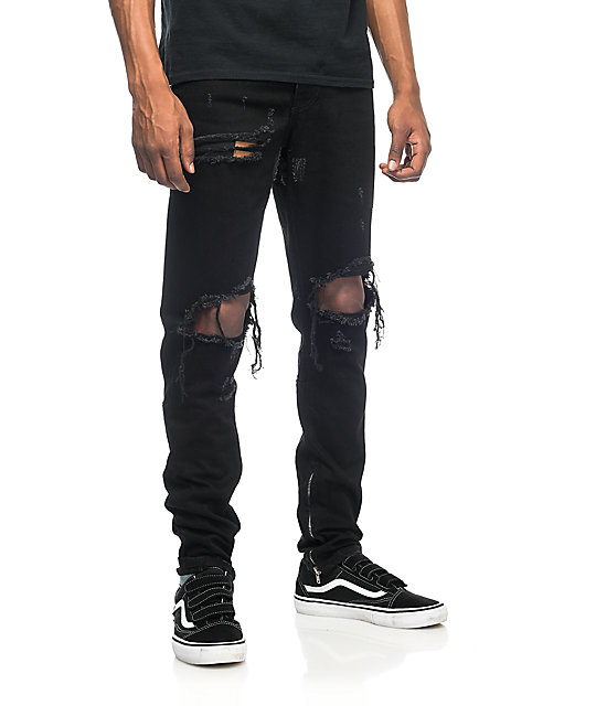 dependable performance website for discount super specials Crysp Denim Pacific Black Ripped Jeans