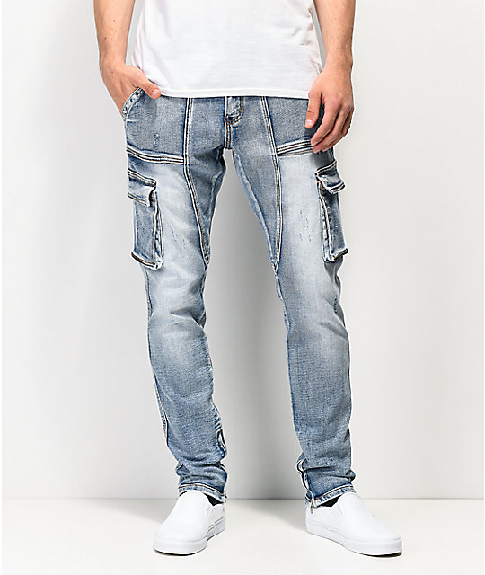 Crysp Denim Pacific Blue Cargo Denim Jeans