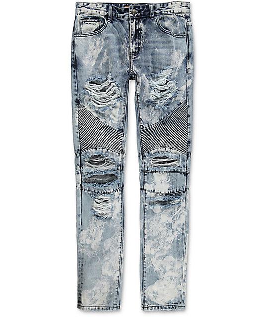 7f5bbb8ec75d Crysp Denim Skywalker Biker Distressed Jeans | Zumiez