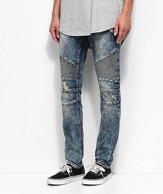 Crysp Denim Skywalker Biker Medium Blue Jeans