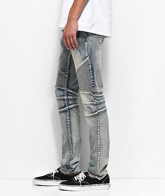 Crysp Denim Skywalker Biker Stone Wash Jeans