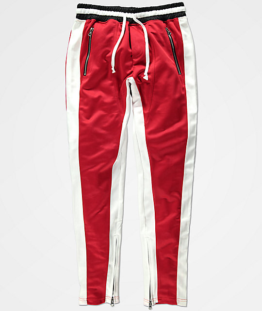 Crysp FB Red & White Track Pants