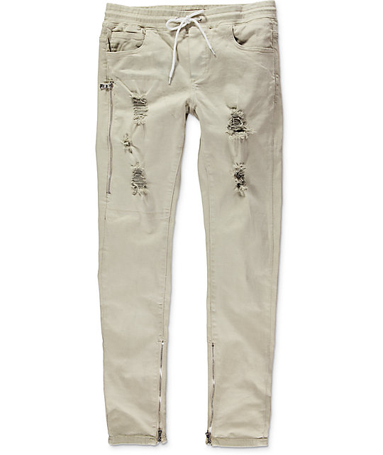 Crysp Fom 2.0 Khaki Ripped Twill Zipper Pants | Zumiez