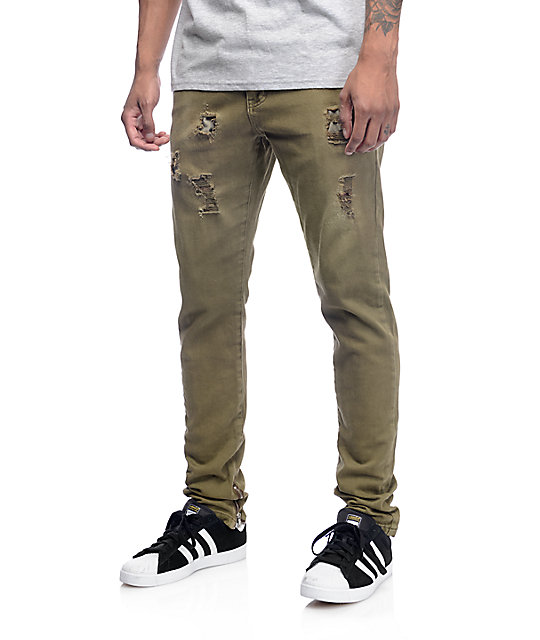 Crysp Fom 2.0 Ripped Twill Olive Pants | Zumiez
