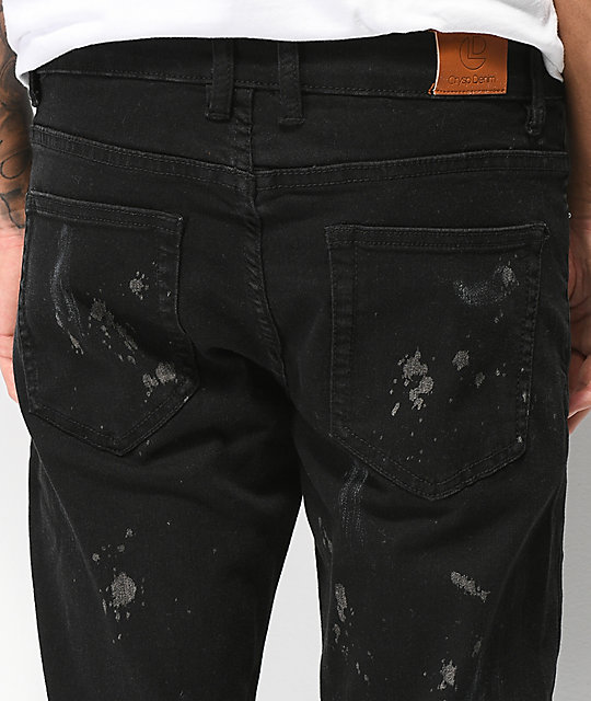 Crysp Pacific Black Paint Skinny Jeans