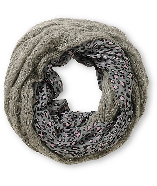 D&Y Animal Print Grey Knit Infinity Scarf