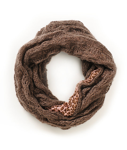 D&Y Animal Print Pink Knit Infinity Scarf