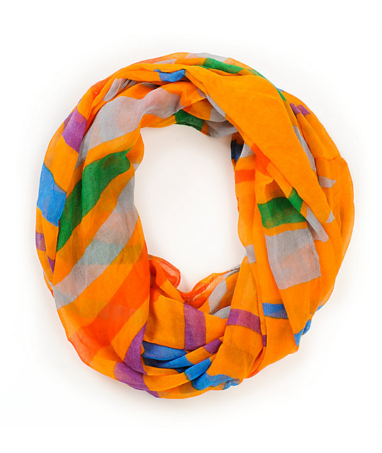 D&Y Bold Stripe Orange Infinity Scarf