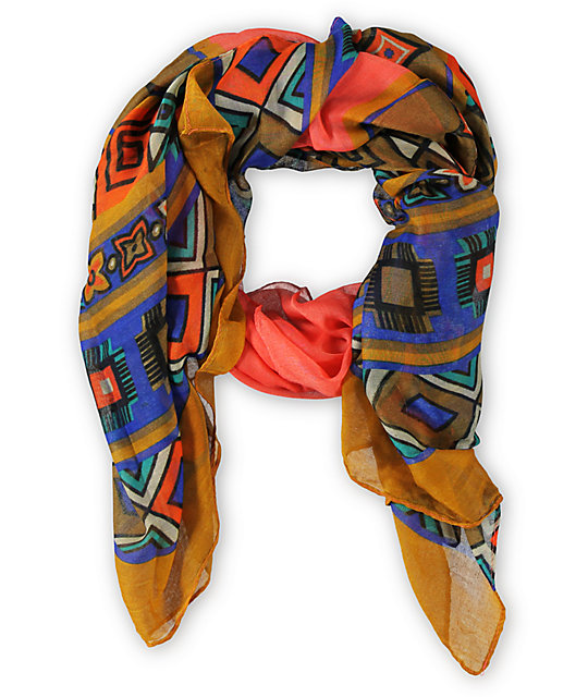 D&Y Oblong Geo Orange Tribal Print Scarf
