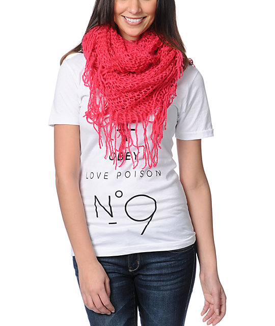 D&Y Pink Fringe Knit Infinity Scarf